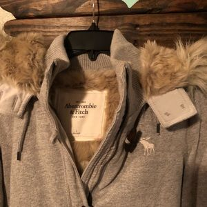 A&F, Grey Coat with Fur lined hood.